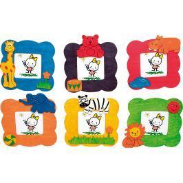 Dřevěné dekorace - Foto rámeček Zvířata 1ks fialová