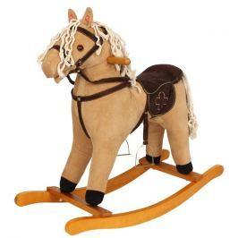 Dřevěný houpací manšestrový kůň se zvuky