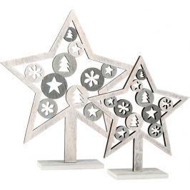 Dřevěná dekorace - Vánoční hvězdy 2ks
