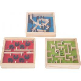 Dřevěný barevný kuličkový labyrint 1 ks červený