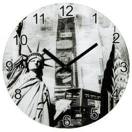 Hama nástěnné hodiny New York, tichý chod, skleněné