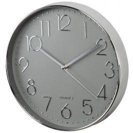 Hama Elegance nástěnné hodiny, průměr 30 cm, tichý chod, stříbrné/šedé