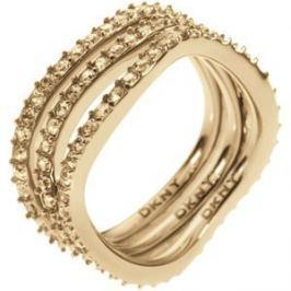 DKNY Trojitý zlatý prsten s krystaly NJ1920040, 49 mm