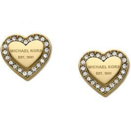 Michael Kors Pozlacené náušnice srdíčka s krystaly MKJ3965710 Náušnice