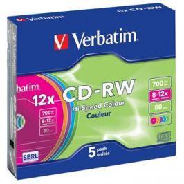 Verbatim Disk  CD-RW DL 700MB/80min. 8x-12x, colors, slim box, 5ks