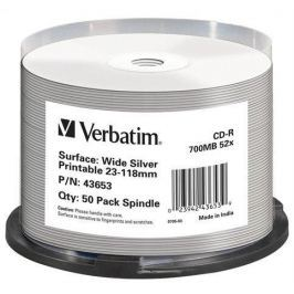 Verbatim CD-R [ spindle 50 | 700MB | 52x | WIDE SILVER INKJET PRINTABLE NON ID ]