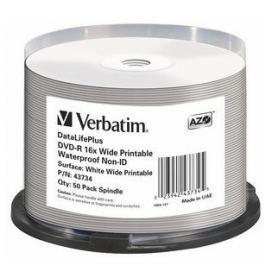 Verbatim DVD-R 16x 4,7GB Spindle, Wide Glossy Waterproof Print 50ks 43734