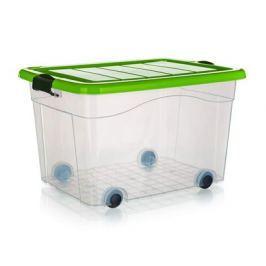 BRILANZ Box úložný na kolečkách PYRAMIDA 60 l, zelený