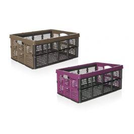 VETRO-PLUS Přepravka skládací Klapbox 32 l, hnědá, růžová