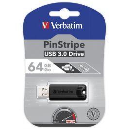 Verbatim flashdisk 64GB USB 3.0 PinStripe USB Drive - Černý