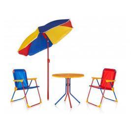 HAPPY GREEN Dětský zahradní set TIMMY, 2 židle, stolek a slunečník