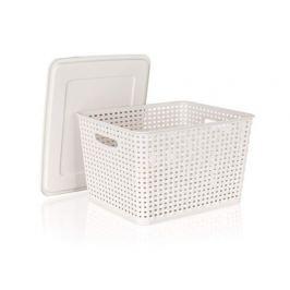 BANQUET Úložný box rattan 5 L s víkem, barva: creamy, vel. 26,1*20,5*10,6 cm
