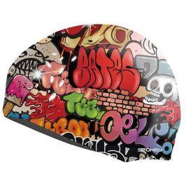 STYLO  plavecká čepice grafitti