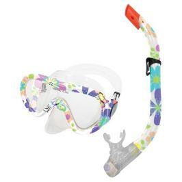 TAHITI JUNIOR-Sada brýle+šnorchl kytičkovaná