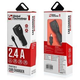Global Technology CAR CHARGER GT PHANTOM II 2xUSB WITH CABLE microUSB 2.4A