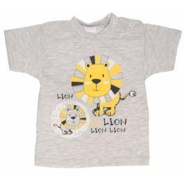 Bavlněné tričko, vel. 68 - Lev - šedé, 62 (2-3m)