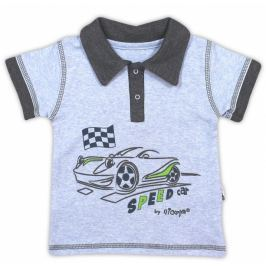 Nicol Bavlněné tričko/polo  AUTO - krátký rukáv - melír sv. modrá, 74 (6-9m)