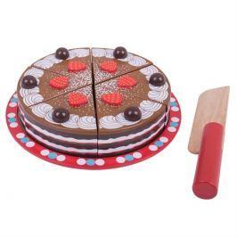 Bigjigs Toys Dřevěné hračky - Krájecí čokoládový dort