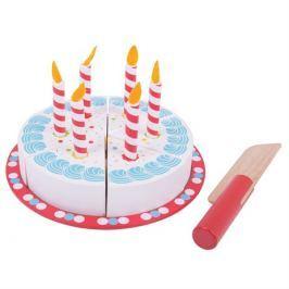 Bigjigs Toys Dřevěné hračky - Krájecí narozeninový dort