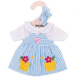 Bigjigs Toys modré pruhované šaty pro panenku 25 cm