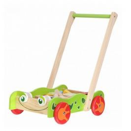 ECO TOYS Dřevěný vozík s dřevěnými kostkami  - Žabka ZELENÁ
