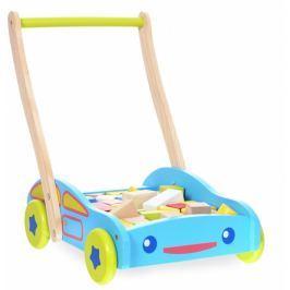 ECO TOYS Dřevěný vozík s dřevěnými kostkami  - Autíčko