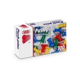 ICO Připínáčky, mix barev, kulatá hlavička, 100ks,
