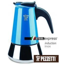 Pezzetti Moka konvice  SteelExpress 4 šálky modrá