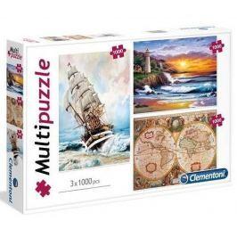 CLEMENTONI Puzzle Dobrodružství 3x1000 dílků