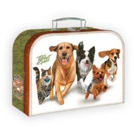 Teddies Šitý kufr/kufřík běžící psi 20x15cm
