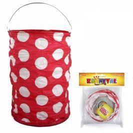 Lampion červený s tečkami, krčený, 15 cm, čajová svíčka