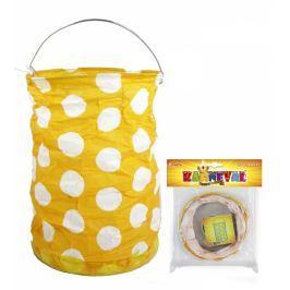 Lampion žlutý s tečkami, krčený, 15 cm, čajová svíčka Dětské karnevalové kostýmy
