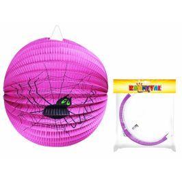 Lampion fialový s pavoukem Halloween koule, 25cm