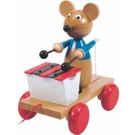 WOODY Dřevěné hračky  - Tahací myš s xylofonem