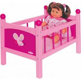 WOODY Dřevěné hračky - Postýlka pro panenku s peřinkami - Trendy