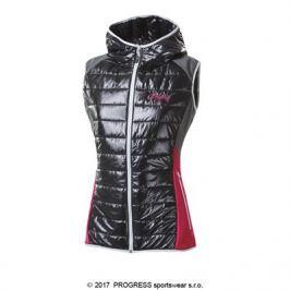 Progress Dámská zateplená vesta s kapucí  MISURINA, L, Černý melír / růžová