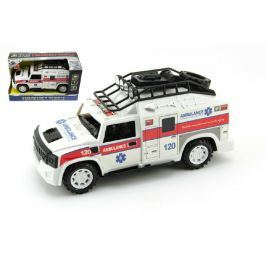 Teddies Auto ambulance plast 25cm na setrvačník na baterie se zvukem se světlem v krabic