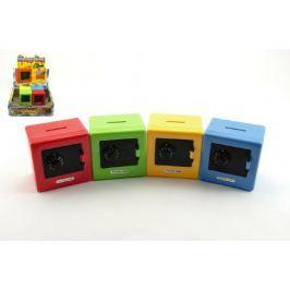 Teddies Pokladnička trezor plast 8,5 cm asst 4 barvy 12 ks v boxu