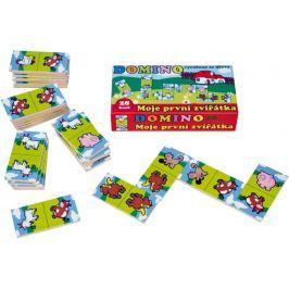 Teddies Domino Moje první zvířátka dřevo společenská hra 28ks v krabičce 17x9x3,5cm MPZ