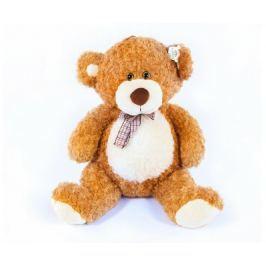Teddies Medvěd s mašlí velký plyš 80cm světle hnědý kudrnatý 0m+