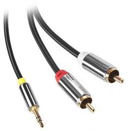 GoGEN Kabel  Jack 3,5mm / 2x Cinch, 1,5m, pozlacené konektory - černý