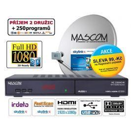Mascom Satelitní komplet  MC2350/80MBL-M7, příjem 2 družic s kartou Skylink