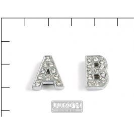 Navlékací písmenka -A-12mm,vysázené krystaly, 4ks