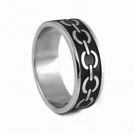 Ocelový prsten s černým smaltem - AKCE, obvod 69 mm
