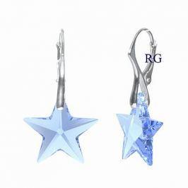 Silvego Stříbrné náušnice Hvězda Light Sapphire se Swarovski Elements