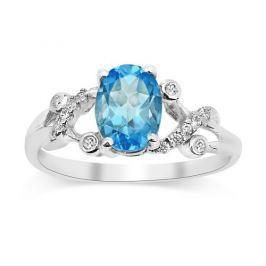 Gio Caratti stříbrný prsten s pravým Topazem, obvod 46 mm