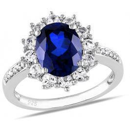 Stříbrný prsten princezny Kate se syntetickým Safírem, obvod 48 mm