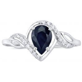 Stříbrný prsten AYNE s pravým Safírem, obvod 50 mm