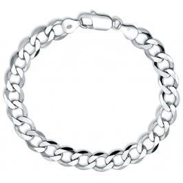 Stříbrný řetěz na ruku CURB 8,5mm - rhodiovaný, 24,5 cm