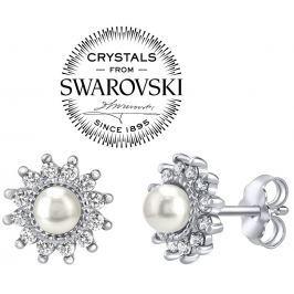 Silvego stříbrné náušnice s bílou perlou Swarovski(R) na puzetu